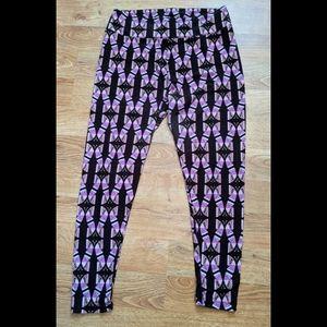 LuLaRoe Black/Pink/Purple Butterfly Leggings Sz TC